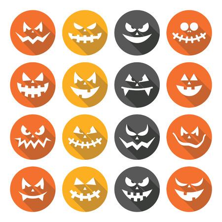 31st: Scary Halloween pumpkin faces flat design icons set