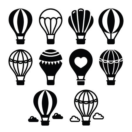 Hete lucht ballon en wolken pictogrammen instellen Stock Illustratie