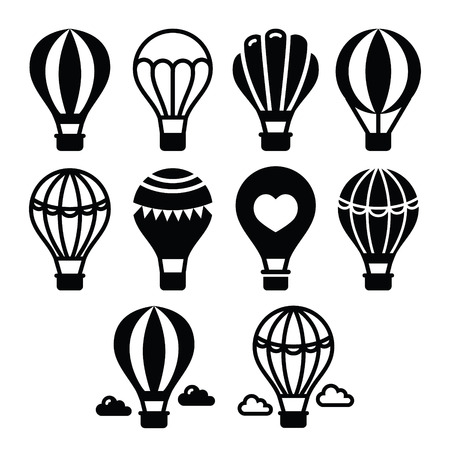 heart heat: Hot air balloon and clouds icons set Illustration
