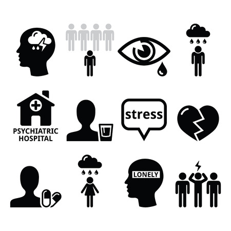 stress: Mental health icons - depression, addiction, loneliness concept Illustration