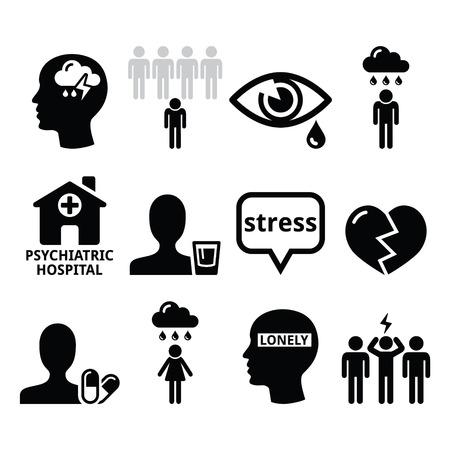 ikony: Zdrowie psychiczne ikony - depresja, uzależnienie, samotność koncepcja Ilustracja