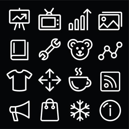 photo gallery: Iconos de l�neas de navegaci�n blanco Web fij� - galer�a de fotos, tienda online