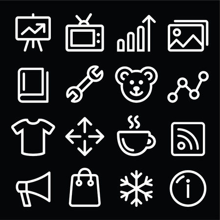 photo gallery: Web white navigation line icons set - photo gallery, online store