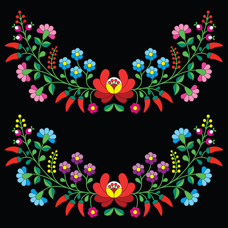 Hungarian floral folk pattern - Kalocsai embroidery with flowers and paprika Illustration