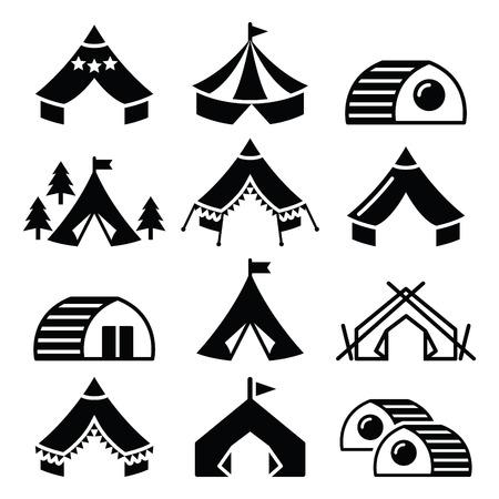 Glamping, 고급스러운 캠핑 텐트와 뱀부 하우스 아이콘을 설정 스톡 콘텐츠 - 38998184