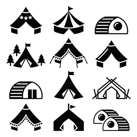 Glamping, luxurious camping tents and bambu houses icons set Vector