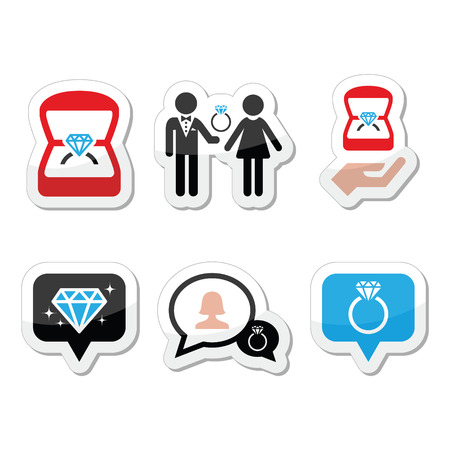 engagement ring: Engagement, diamond ring in box vector icons set Illustration