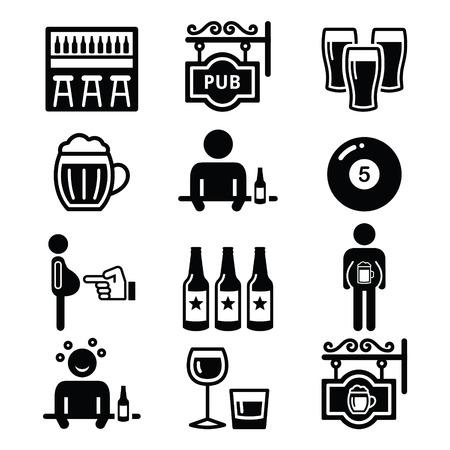 ebrio: Bar, beber alcohol, Iconos del vientre de cerveza Vectores