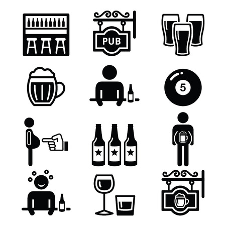 belly fat: Pub, drinking alcohol, beer belly icons set