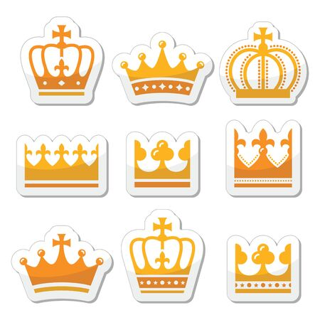 duke: Crown, royal family gold icons set