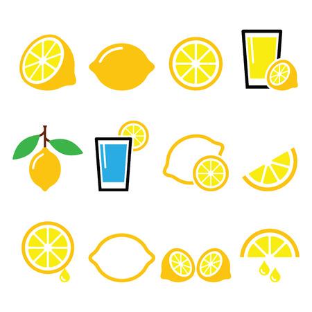 Citroen, limoen - voedsel pictogrammen instellen Stock Illustratie