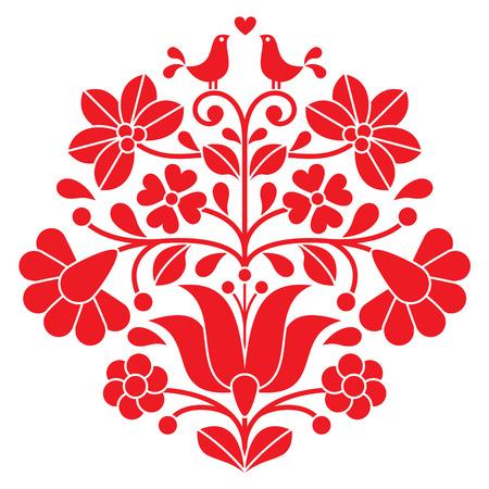 Kalocsai czerwonym haftem - folk Węgierski kwiatowy wzór z ptakami Ilustracje wektorowe