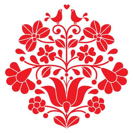 hungarian: Kalocsai red embroidery - Hungarian floral folk pattern with birds Illustration