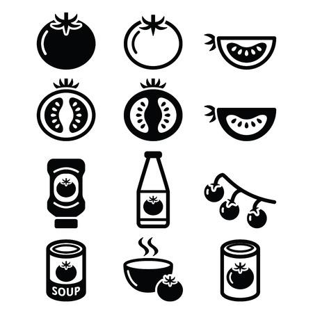ensalada tomate: Tomate, salsa de tomate, establece iconos sopa de tomate Vectores