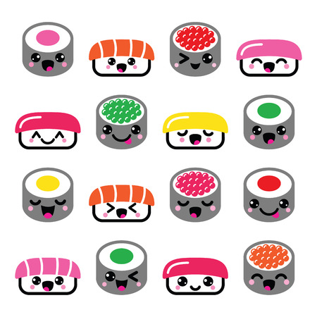 Cute Kawaii sushi - Japanese food vector icons set