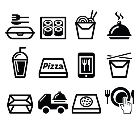lunch meal: Take away box, meal vector icons set