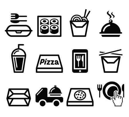 Weg te nemen doos, maaltijd vector pictogrammen instellen Stock Illustratie