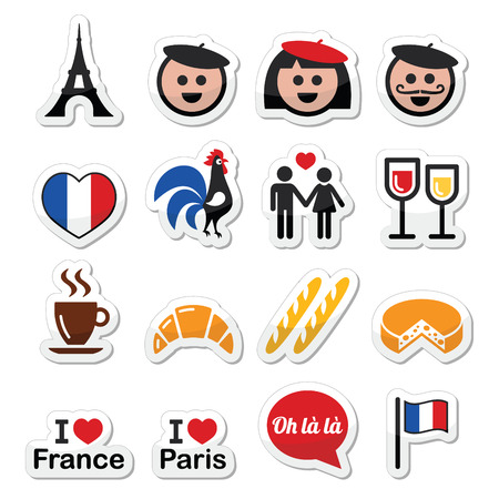 i love paris: France, I love Paris vector icons set