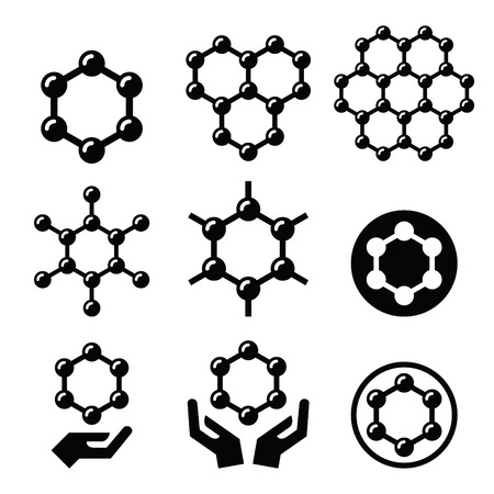 nanotubes: Carbone graphene structure vector icons set