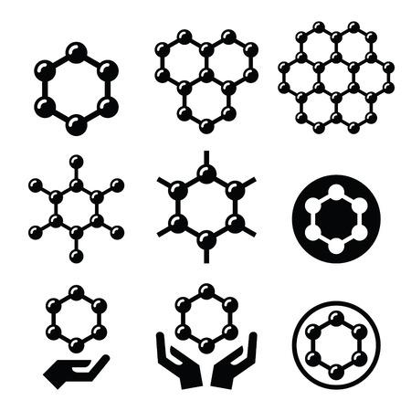 grafito: Carbone iconos vectoriales estructura de grafeno establecen Vectores