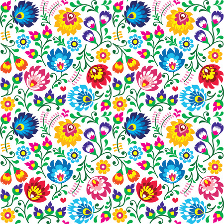 floral fabric: Seamless Polish folk art floral pattern - wzory lowickie, wycinanki Illustration