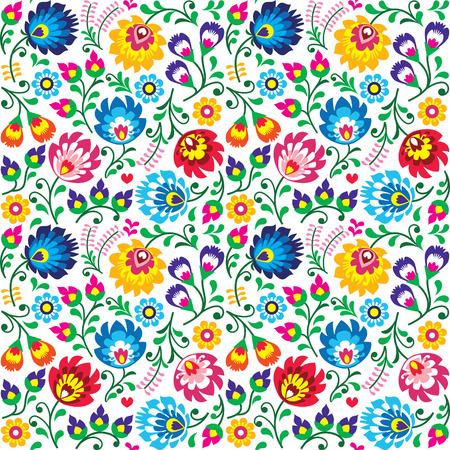 Seamless Polish folk art floral pattern - wzory lowickie, wycinanki 向量圖像