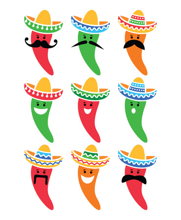 brimmed: Chili pepper in Mexican Sombrero hat with mustache icons