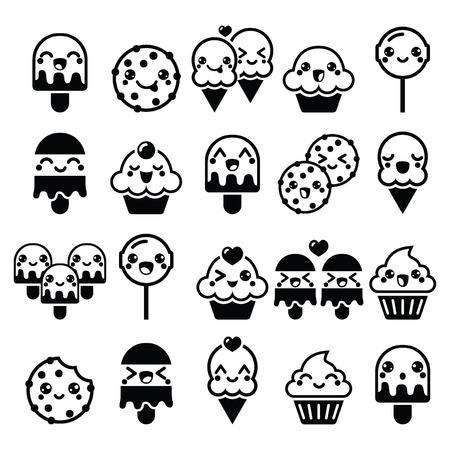 Cute Kawaii food characters - cupcake, ice-cream, cookie, lollipop icons Vector