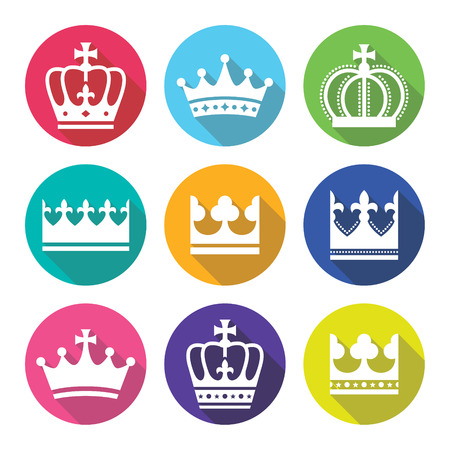 royal family: Crown, royal family flat design icons set