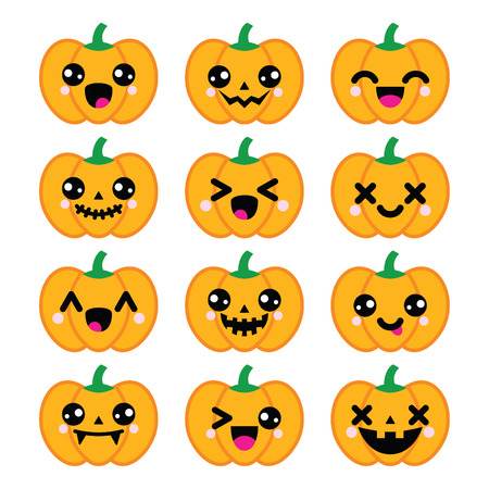 grime: Halloween Kawaii cute pumpkin icons  Illustration