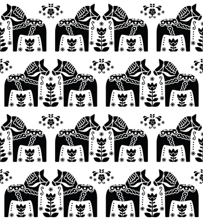 swedish: Swedish Dala or Daleclarian horse seamless folk art pattern