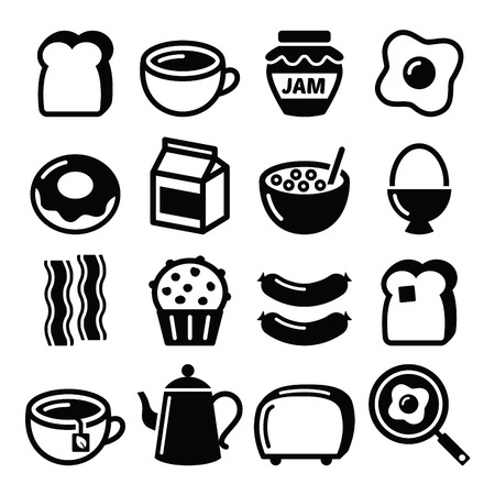 comiendo cereal: Iconos Desayuno vectores conjunto de alimentos - tostadas, huevos, bacon, caf�