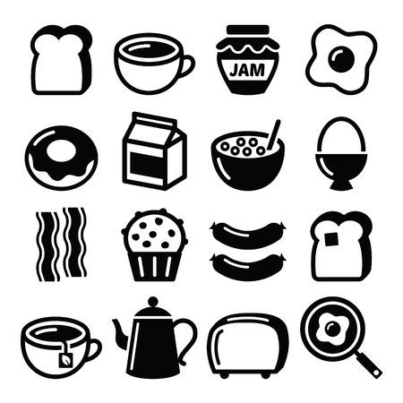 Ontbijt eten vector iconen set - toast, eieren, spek, koffie Stock Illustratie