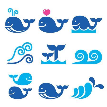ballena: Iconos, al mar o al océano olas azules ballena establecen Vectores