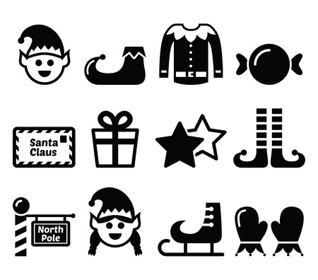 legs stockings: Elf, Christmas vector icons set