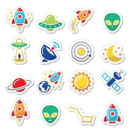 kidnap: Space and UFO vector icons set