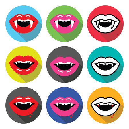vampire teeth: Vampire mouth, vampire teeth vector flat design icons set