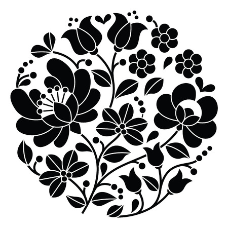 Kalocsai black embroidery - Hungarian round floral folk pattern Imagens - 39770835