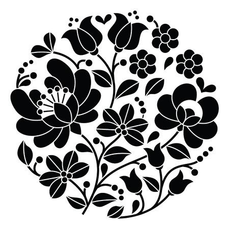 Kalocsai zwart borduurwerk - Hongaarse round floral folk patroon Vector Illustratie