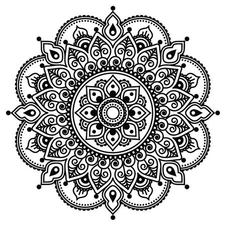 Mehndi, Indian Henna tattoo pattern or background Stock Illustratie
