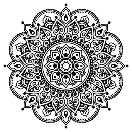 Mehndi, Indian Henna tattoo pattern or background Ilustração