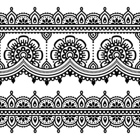 一時的な刺青、インドのヘナの入れ墨のシームレス パターン