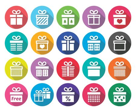 special event: Present, gift box vector flat design icons set Illustration