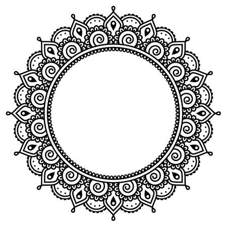 一時的な刺青、インドのヘナ タトゥー ラウンド パターン  イラスト・ベクター素材