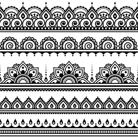Mehndi, Indian Henna tattoo seamless pattern, design elements  イラスト・ベクター素材
