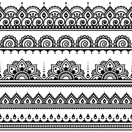 Mehndi, Indian Henna tattoo seamless pattern, design elements Stock Illustratie