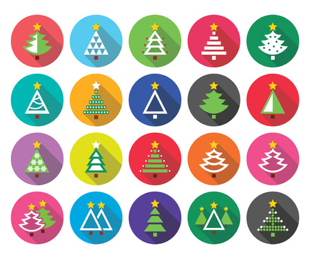 green tree: Christmas green tree - various types vector flat design icons set