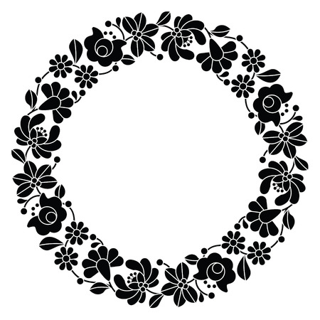 hungarian: Kalocsai black embroidery in circle - Hungarian floral folk pattern
