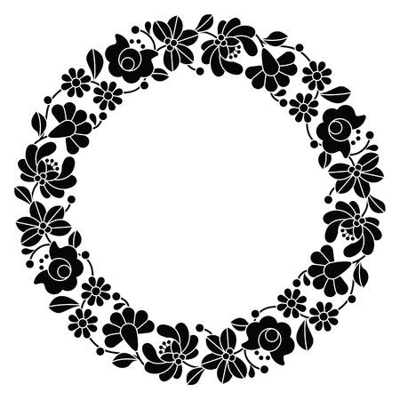 Kalocsai zwarte borduurwerk in cirkel - Hongaarse folk florale patroon Stock Illustratie