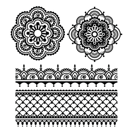 tattoo traditional: Mehndi, Indian Henna tattoo seamless pattern